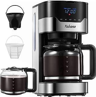 Yabano Cafetière Filtre, Cafetière Electrique Programmable à 12 Tasses(1.5L) avec Écran Tactile, Fonction Maintien au Chau...