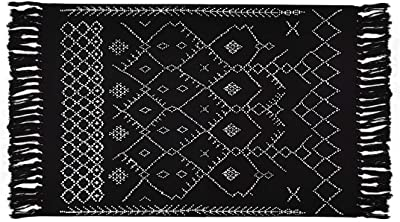 Boho Black and White Rugs, Throw Bath Rugs, Geometric Tribal Mats, 2' × 3' Cotton Woven Area Rug with Tassel for Kitchen, Bedroom, Entrance, Laundry Room