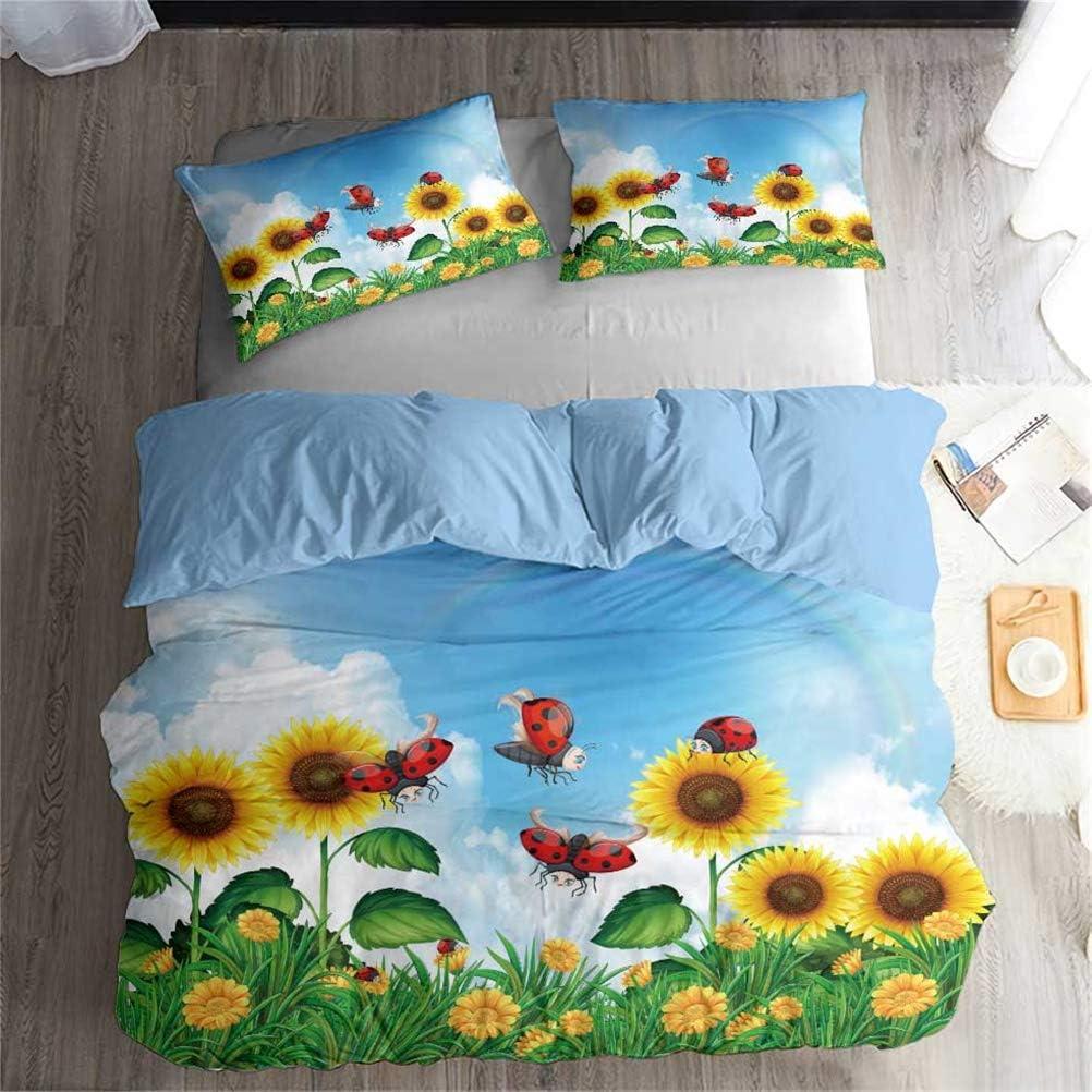 Ekhill Jon Insect Animal 受賞店 市販 Ladybug Printing Plant Bedd Cover Duvet