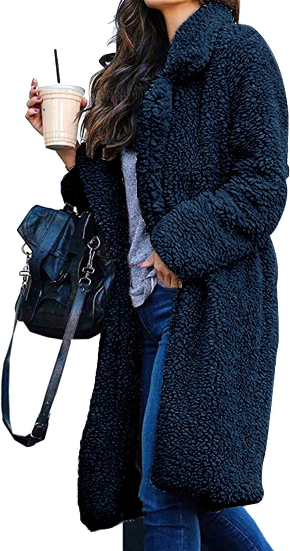 ZICUE Womens Lapel Double Long Teddy Coat Open Front Fleece Jacket Sherpa Coats with Pockets