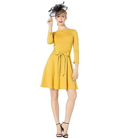 Unique Vintage Knit Tie Waist Bettie Fit Flare Dress (Mustard) Women