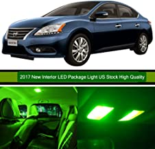 LED Interior Lights 6pcs Green Package Kit Accessories Replacement for Nissan Sentra 2007-2012