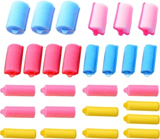 Pangda 28 Pieces Soft Sponge Hair Roller Foam Hair Styling Curlers 6 Sizes Colorful Curling Tools for Hair DIY