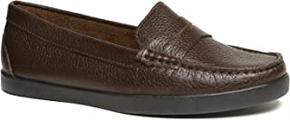 Driver Club USA Women's Leather Made in Brazil Penny Loafer Deck Shoe Boat, Brown Grainy/Black Sole, 5 M US