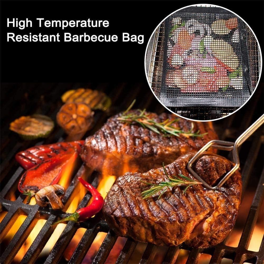 Sac à Haute température résistant Barbecue réutilisable Griller Sacs en Filet Sac Barbecue Non-Stick électrique au gaz Barbecue au Charbon (Color : Black 24x14cm) Khaki 24x14cm