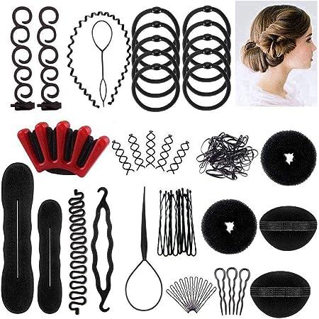 Ealicere 25pcs Accesorios de Peinado, peinados utensilios,Herramientas Accesorios Hacedor Braid Cabello Trenzado Peinado Clip Herramientas para Diseño de Espuma para Niñas Mujeres con pelo DIY