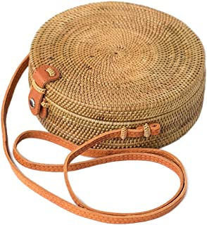 b041e79725d2 Bali Harvest Round Woven Ata Rattan Bag Linen Inside and Leather Button  (with Genuine Leather