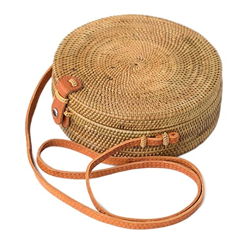 Bali Harvest Round Woven Ata Rattan Bag Linen Inside and Leather Button (with Genuine Leather