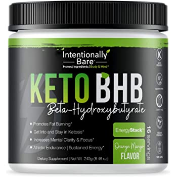 Keto BHB Salts for Easy Ketosis - Caffeine Free Energy, Pre-Workout, Mental Clarity - Beta-Hydroxybutyrate, Exogenous Ketones Supplement - Formulated for Fat Burn - Orange Mango, 16 Servings