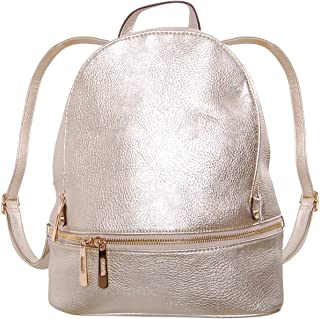 Humble Chic Vegan Leather Backpack Purse Small Fashion Travel School Bag Bookbag, Champagne Gold, Metallic