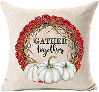 MFGNEH Gather Together Fall Pillow Covers 18x18 Inch Pumpkin Floral Garland Farmhouse Decor Cushion Covers for Sofa,Thanksgiving Decor