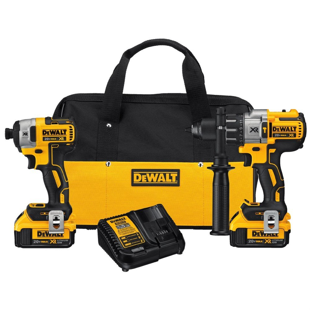 디월트 DCK299M2 20V 해머 & 임팩트 드릴 콤보 키트 (110볼트, 변압기 필요) DEWALT 20V MAX XR Brushless Impact Driver and Hammer Drill Combo Kit, (DCK299M2)