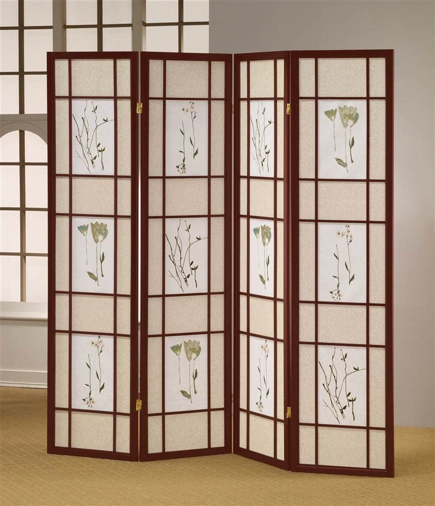 Easy-to-use ADF 4-Panel Shoji Screen Cherry Frame Finish Store with