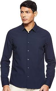 Calvin Klein Jeans Logo Slim Stretch Shirt in Night Sky (L) Navy