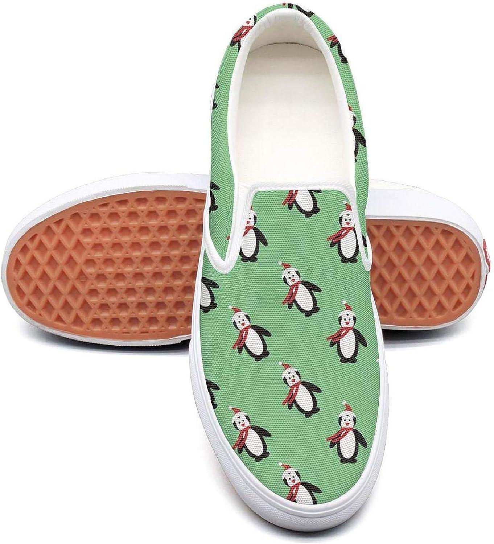 Feenfling Cute Christmas Penguin Womens Light Slip on Low Top Canvas Sneaker