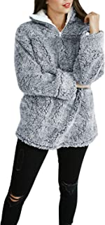 Women's Autumn Winter Long Sleeve Zipper Sherpa Fleece...