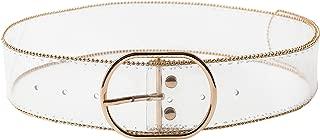 Women's PVC Transparent Wide Fashion Jelly Clear Belt Cummerbund with Gold Beads