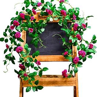 EQLEF Guirnaldas Flores Decoraciones, Enredaderas de Flores Artificiales de Color Rosa con Hojas Verdes para Arte de Bodas, decoración del hogar, jardín