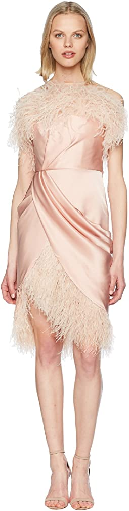 Marchesa Strapless Draped Silk Satin Cocktail w/ Ostrich Feather Fringe