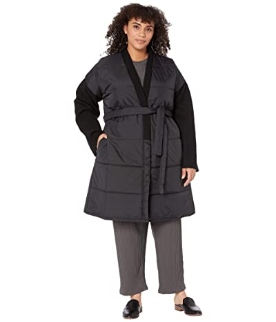 Eileen Fisher Plus Size Quilted Recycled Nylon w/ Boiled Wool Coat (Black) Women