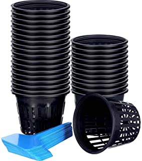 JOVITEC 60 Pieces Net Cup Set, 30 Pack 3 Inch Net Cups Slotted Mesh Wide Lip with 30 Pieces Plant Labels Filter Plant Net ...