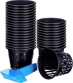Jovitec 60 Pieces Net Cup Set, 30 Pack 3 Inch Net Cups Slotted Mesh Wide Lip with 30 Pieces Plant Labels Filter Plant Net Pot Bucket Basket for Hydroponics