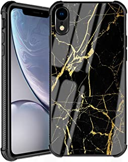 iPhone XR Case Marble Case,Black Gold Marble Pattern Tempered Glass Back Cover with Soft Silicone TPU Shockproof Bumper Protective Case Compatible for Apple iPhone XR 6.1 Inch