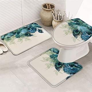 Fantasy Staring Bath Rugs Set 3 Piece, Peacock Feather Washable Memory Foam Non-Slip Contour Mat Toilet Lid Cover Bath Mat...