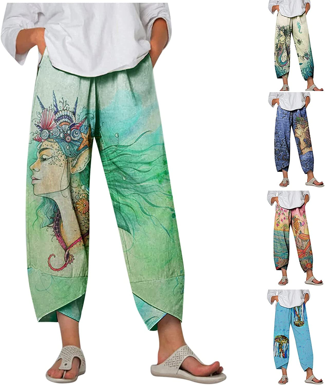 Hotkey Summer Pants for Women, Casual Baggy Cotton Linen Wide Leg Pants Character Floral Print Elastic Waist Capri Crop Pants