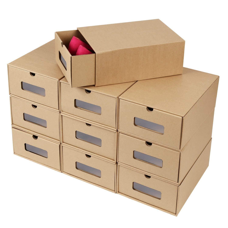 LHY SAVE Cajas De Zapatos 10 PCS De Caja Zapatos Transparente Plegable para Hombre Y Mujer Caja Guardar Zapatos,24 * 35 * 14CM: Amazon.es: Hogar