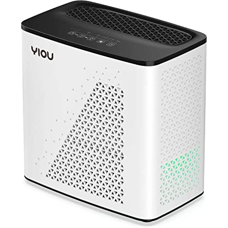 YIOU Air Purifier for Home, Allergies and Pets Dander Smokers in Bedroom, H13 True HEPA Filter, 20db Filtration System Cleaner Odor Eliminators, Remove 99.99% Dust Smoke Mold Pollen, Black