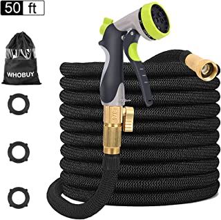 WHOBUY 50 FT Upgraded Flexible Garden Hose with 8-Patterns Spray Nozzle and Hose Storage Bag, 3/4