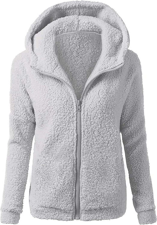 Winter Coats for Women Wool Fuzzy Fleece Zipper Jacket Warm Hoodie Long Sleeve Cardigan Soft Solid Color Outwear