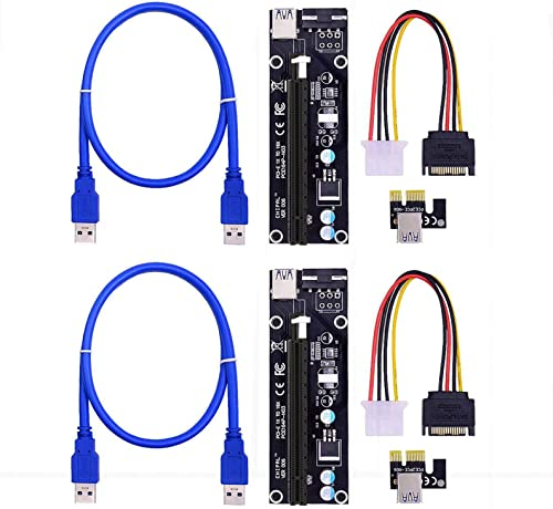 new arrival PCIe 4-Pin MOLEX PCI-E 16x to 1x Powered Riser outlet sale Adapter Card w/ 60cm USB 3.0 Extension 2021 Cable & MOLEX to SATA Power Cable - GPU Riser Adapter - Ethereum Mining ETH, Pack of 2 outlet online sale