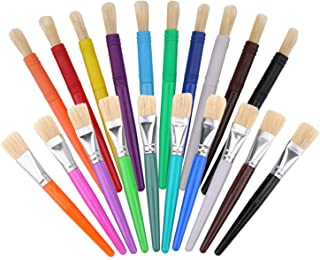 Suwimut 20 Pack Kids Paint Brushes, Assorted Colors Round and Flat Tip Kids Tempera Paint Brushes, Plastic Handle with Hog...