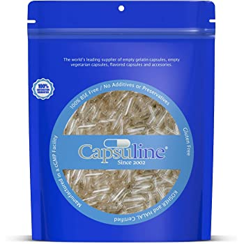 Clear Size 0 Empty Vegetarian Capsules by Capsuline - 1000 Count |Kosher & Halal Certified |Non-GMO Certified