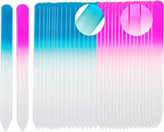 SIUSIO 40 pack Professional Czech Crystal Glass Nail Files Buffer Manicure Tools Kit Set Gradient Rainbow Color for Nail polishing - Best for Fingernail & Toenail Care e(pink&blue)