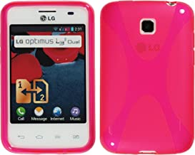 PhoneNatic Silicone Case Compatible with LG Optimus L3 II Dual - X-Style hot Pink Cover + Protective foils