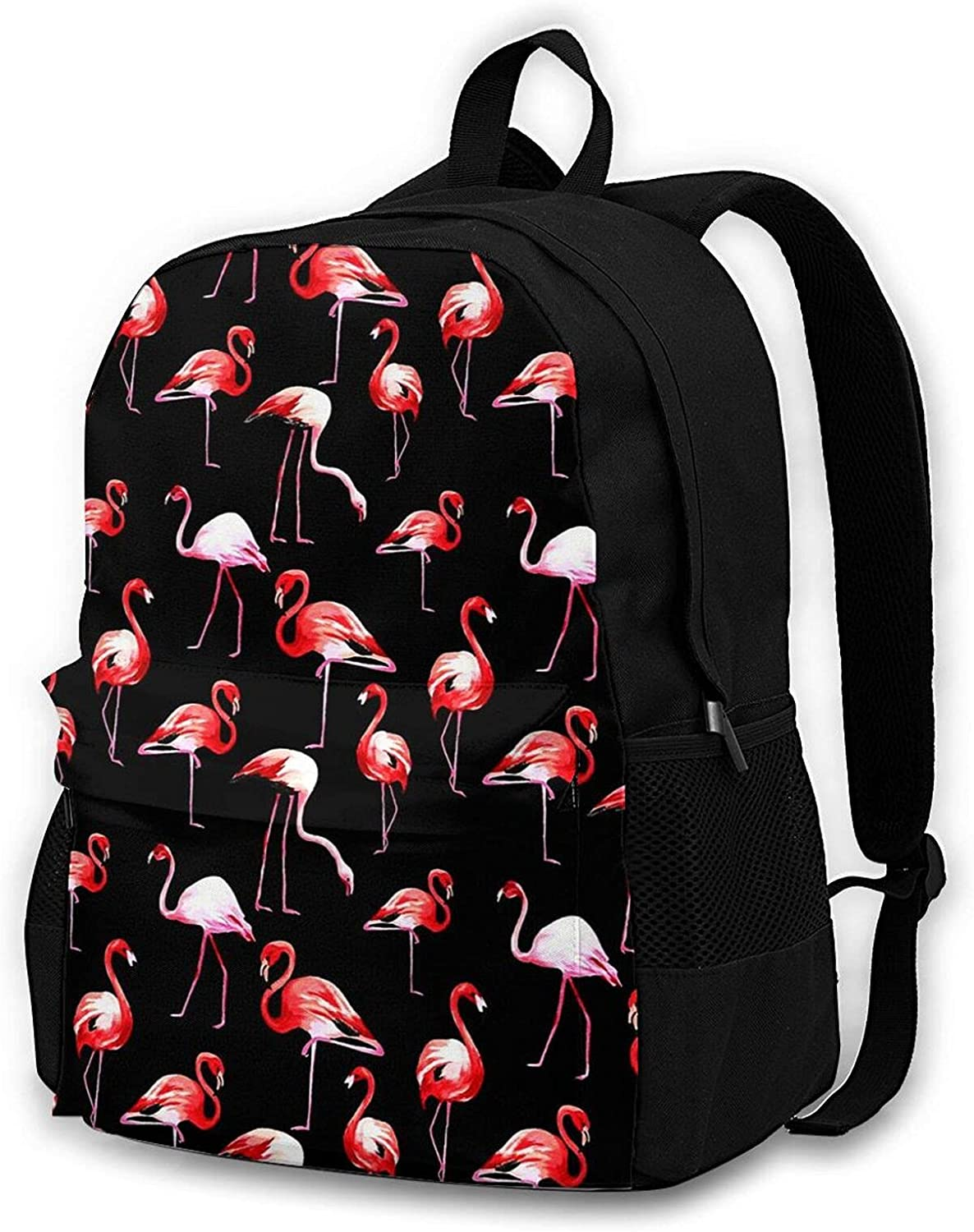Flamingo-black Travel Laptop Backpack for Men Women College School Computer Bookbag with Business Anti Theft Water Resistant