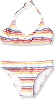 Roxy Girls' Lovely Senorita Tri Two Piece Swimsuit, Bright White CONFI Stripe