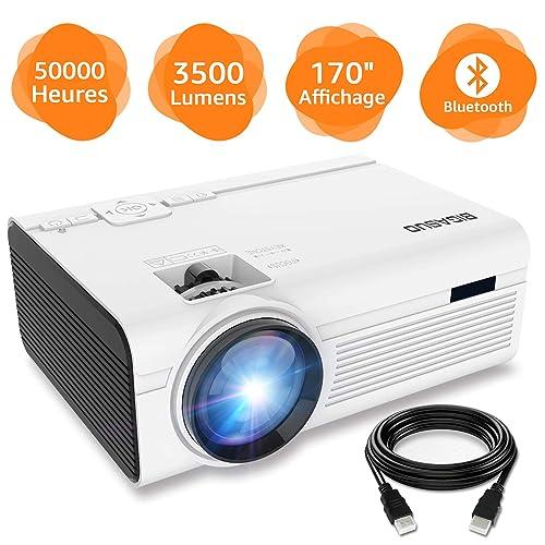 BIGASUO Vidéoprojecteur 3500 Lumens Portable LED Mini Projecteur Bluetooth, Soutien Charge Le Format Plein HD 1080P iPhone Andriod Jeu TV multimédia Home Theater Entertainment