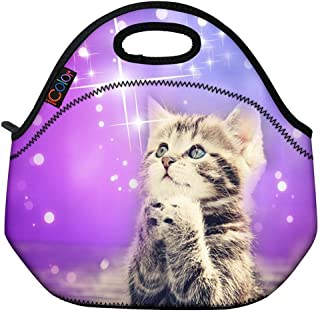 ICOLOR Cute Cat Girls Insulated Neoprene Lunch Bag Tote Handbag lunchbox Food Container Gourmet Tote Cooler warm Pouch For...