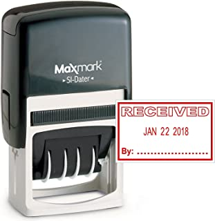 MaxMark Office Date Stamp with Received Self Inking Date Stamp - RED Ink