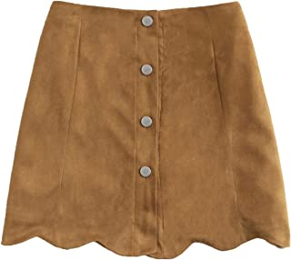 MAKEMECHIC Women's Casual Faux Suede Button Front A Line Mini Skirt