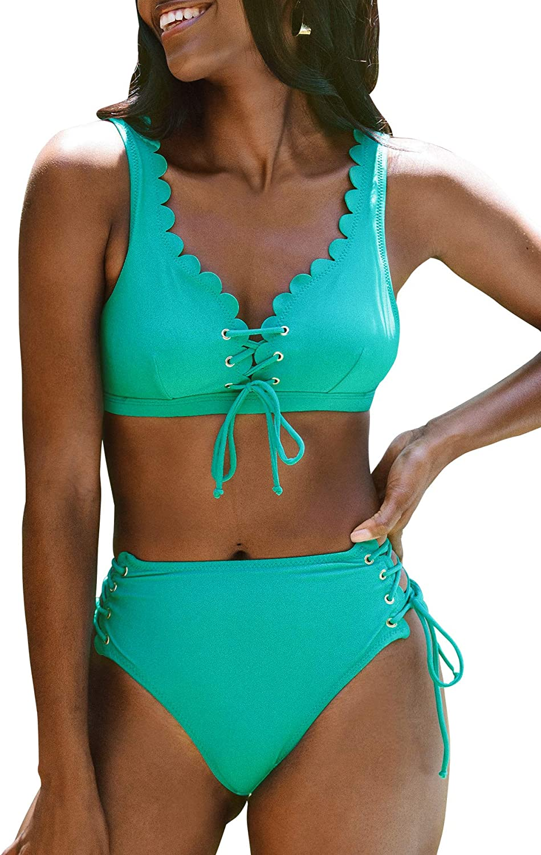 CUPSHE Women's High Waisted Aqua Lace Up Scalloped Adjustable Straps Bikini Sets