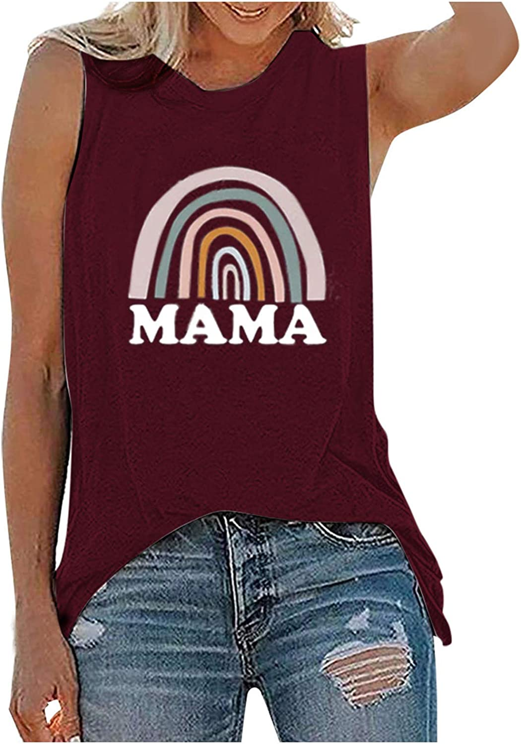 Tank Tops for Women,Womens Tops for Independence Day Womens Summer Tank Tops Crew Neck Sleeveless Tops