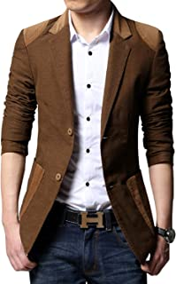 Men's 2-Button Contrast Color Corduroy Splicing Cotton Suit Blazer Jacket