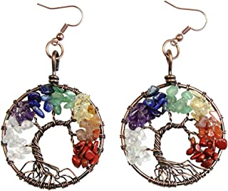 Dangle Earrings Tree of Life Chakra Gemstone Jewelry Mothers Day Gifts for Mom Wife Women