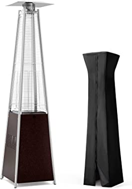 PAMAPIC Patio Heater, 42,000 BTU Pyramid Flame Outdoor Heater with Cover, Quartz Glass Tube Hammered Bronze Tower Propane Out