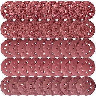 LEOBRO サンドペーパー 紙やすり ダブルアクション サンディングディスク サンダー用8穴あき 丸形 50枚セット#40#60#180#240#320 DIY 木工用 研磨 やすり